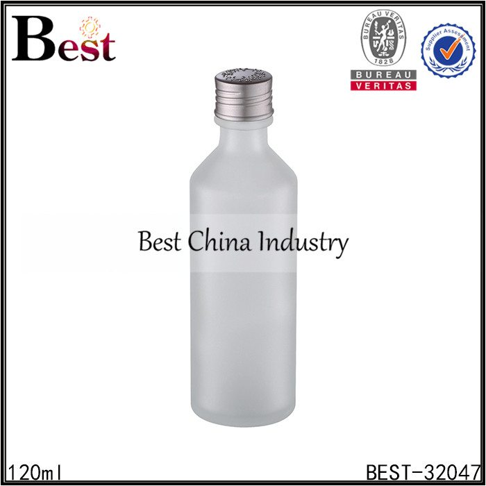 frosted glass bottle with silver cap 120ml