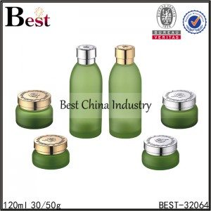 green color glass bottle and glass jar 120ml, 30/50g