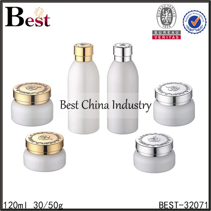 white color glass bottle and jar 120ml,30/50g