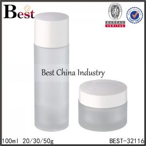 frosted glass bottle and jar 100ml,20/30/50g