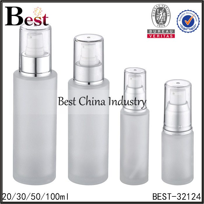 frosted glass bottle with pump and cap 20/30/50/100ml