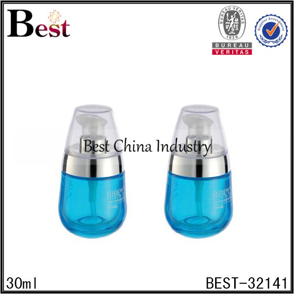 blue color blue color glass bottle with pump 30ml