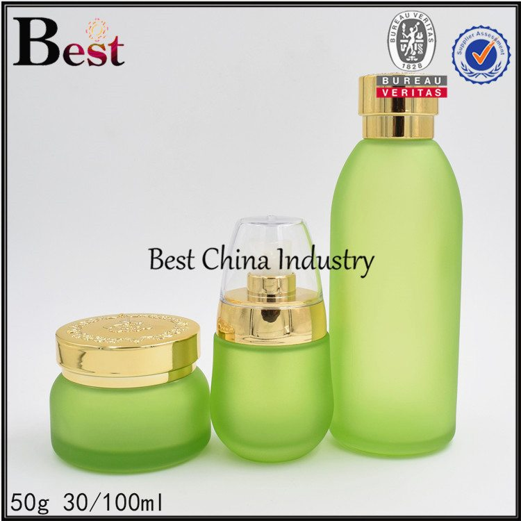 green bottle and jar 50g, 30/100ml