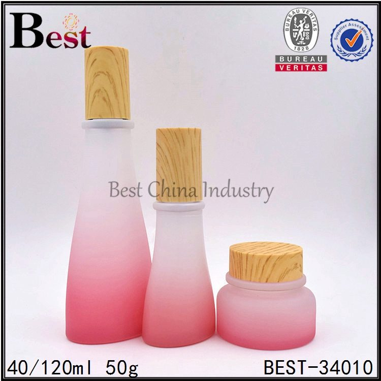 painted red glass bottle and jar 40/120ml, 50g
