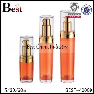 orange color pump acrylic bottle 15/30/60ml