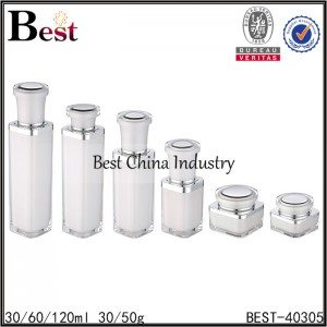 pearl white acrylic jar with round cap 30/50g, acrylic bottle 30/60/120ml