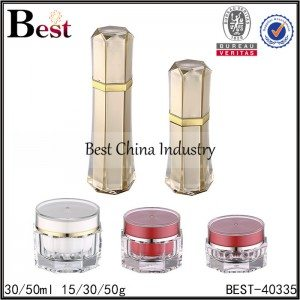 polygon shape red gold acrylic jar and bottle, 15/30/50g ,30/50ml