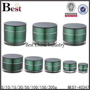 varies size green acrylic cream jar 5/10/15/30/50/100/150/200g
