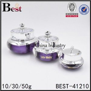 round purple acrylic cream jar with beautiful acrylic cap 10/30/50g