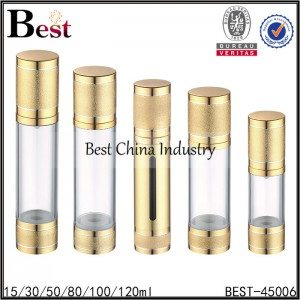 clear airless lotion pump bottle with frosted gold cap and bottom 15/30/50/80/100/120ml