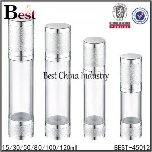 clear airless pump bottle with frosted silver cap,bottom 15/30/50/80/100/120ml