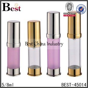 pink/clear airless lotion pump bottle 5/8ml