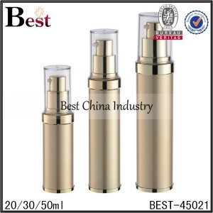 gold airless lotion pump bottle with clear lid 20/30/50ml