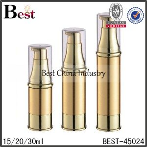 gold airless lotion pump bottle 15/20/30ml