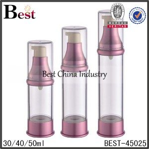 clear airless lotion pump bottle with red top and bottom 30/40/50ml