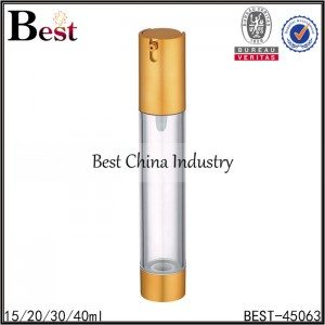 clear airless lotion pump bottle with gold top and bottom 15/20/30/40ml