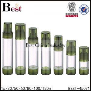 clear airless pump bottle, green tops and bottom 15/30/50/80/100/120ml