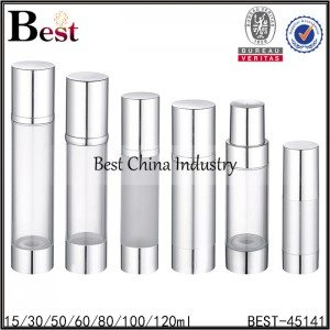 clear airless bottle with silver aluminum cap 15/30/50/80/100/120ml