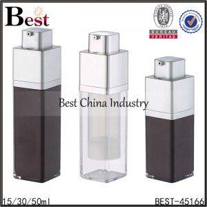square shape press pump lotion acrylic airless bottle 15/30/50ml