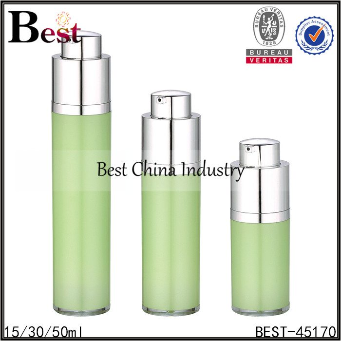 green color press pump lotion airless bottle 15/30/50ml
