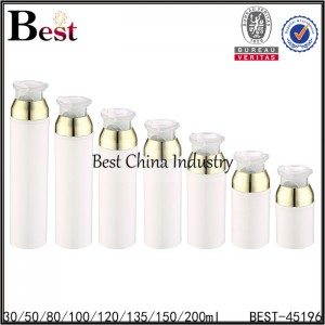 white PP plastic airless bottle 30/50/80/100/120/135/150/200ml