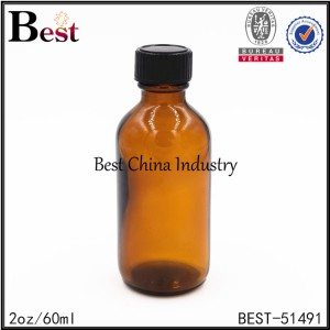 amber glass boston bottle with black plastic cap 2oz / 60ml
