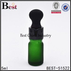 frosted green essential oil bottle with shiny black aluminum dropper 5ml