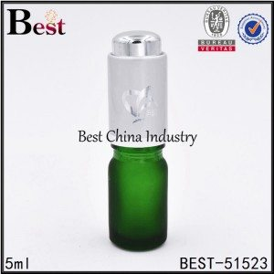 frosted green essential oil bottle with frosted silver press pump dropper 5ml