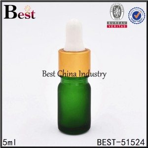 frosted green glass essential oil bottle with matt gold aluminum dropper 5ml