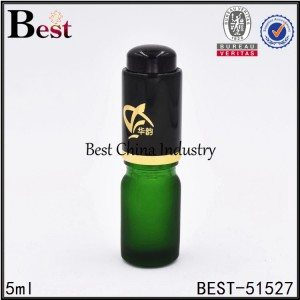 mini small matte green glass dropper bottle with press pump dropper cap 5ml 10ml 15ml 30ml