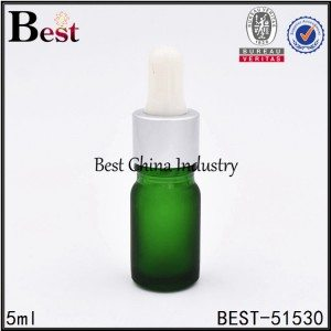 small green glass dropper bottle for cosmetic 5ml