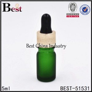matte green color cosmetic essential oil glass dropper bottle 5ml