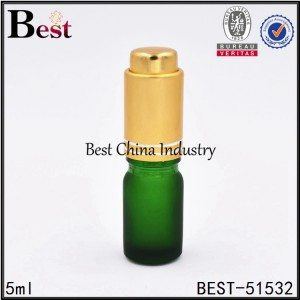 mini small empty green glass dropper bottle 5ml