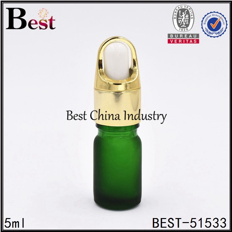 mini matte green glass dropper bottle for cosmetic sample 5ml