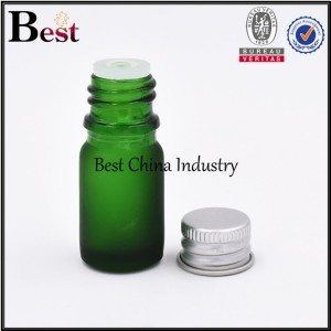 mini matte cosmetic green glass dropper bottle with screw top 5ml 10ml