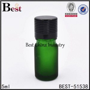 mini green glass sample bottle with screw lid for cosmetic 5ml