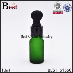 matte green color cosmetic green glass dropper bottle sample 10ml