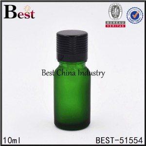 mini matte green glass essential oil bottle with screw top 5ml 10ml