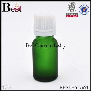 cosmetic matte green essential oil glass bottle with white plastic cap 5ml 10ml 30ml
