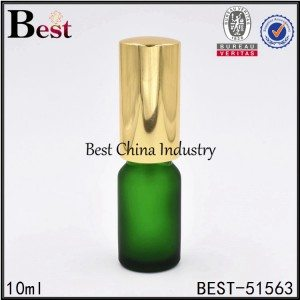 cosmetic green color glass bottle with gold sprayer top 5ml 10ml