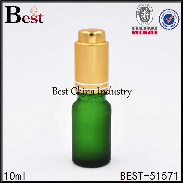 matte green color glass essential oil bottle with gold press pump dropper 10ml 30ml 50ml