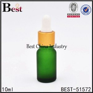 matte frosted green color glass bottle with gold dropper top 10ml 30ml
