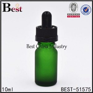 frosted green cosmetic glass dropper bottle with child proof cap