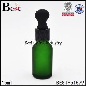 frosted green cosmetic glass dropper bottle with black dropper 15ml 30ml