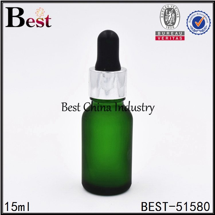 frosted green color glass bottle with aluminum dropper top 15ml 0.5oz