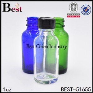 clear amber green blue frosted glass Boston bottle with brush cap 1oz
