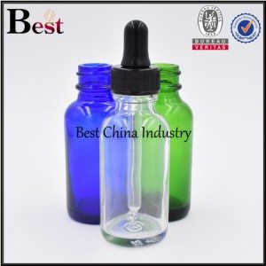 clear green blue cosmetic Boston glass bottle with dropper top 1oz
