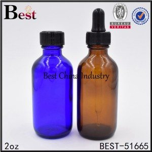 amber blue cosmetic Boston glass bottle with dropper cap 2oz