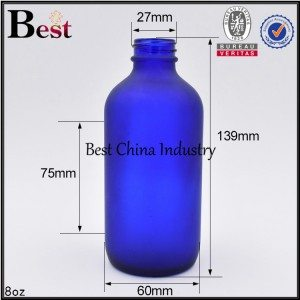 empty cosmetic clear frosted blue glass Boston bottle 8oz