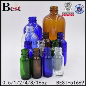 amber clear green blue frosted Boston glass essential oil bottle 0.5 1 2 4 8oz